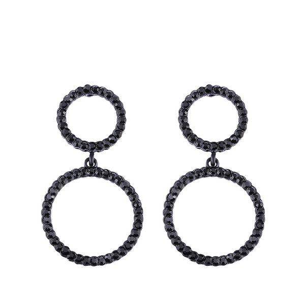 Imitated crystal&CZ Simple Geometric earring  (black)  Fashion Jewelry NHAS0507-black