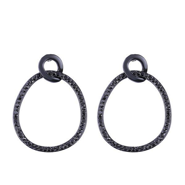 Imitated crystal&CZ Simple Geometric earring  (black)  Fashion Jewelry NHAS0508-black