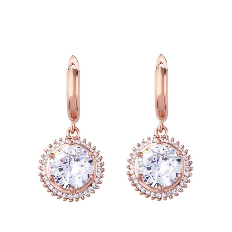 Zircon Simple Flowers earring  (Rose alloy)  Fashion Jewelry NHAS0509-Rose-alloy