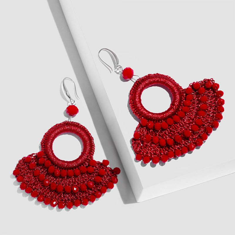 Alloy Fashion Tassel earring  (red)  Fashion Jewelry NHAS0551-red