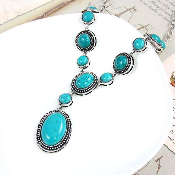 Alloy Fashion Geometric necklace  (green)  Fashion Jewelry NHAS0554-green