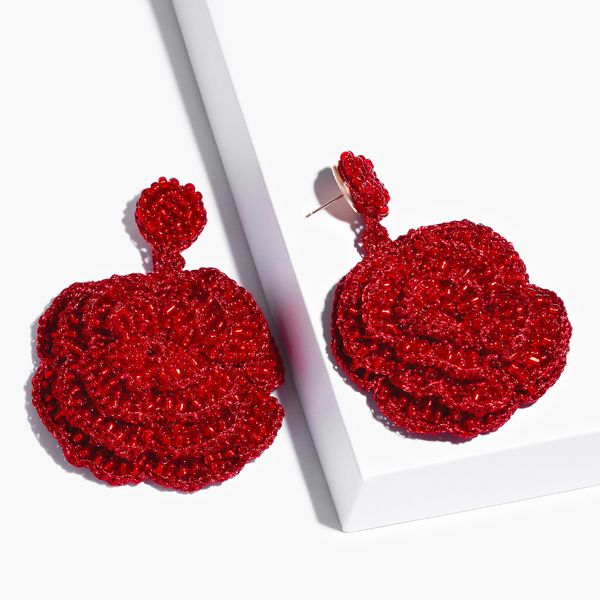 Alloy Fashion Flowers earring  (red)  Fashion Jewelry NHAS0561-red