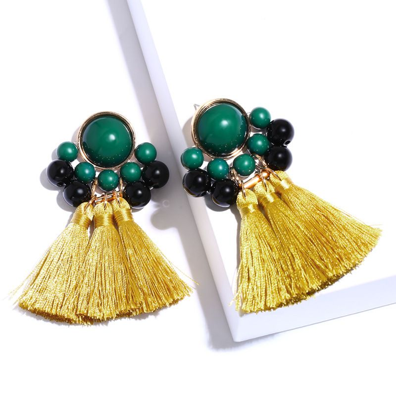 Cloth Fashion Tassel earring  (yellow)  Fashion Jewelry NHAS0575-yellow