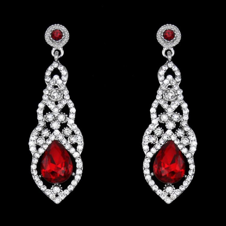 Imitated crystal&CZ Fashion Tassel earring  (red)  Fashion Jewelry NHAS0592-red