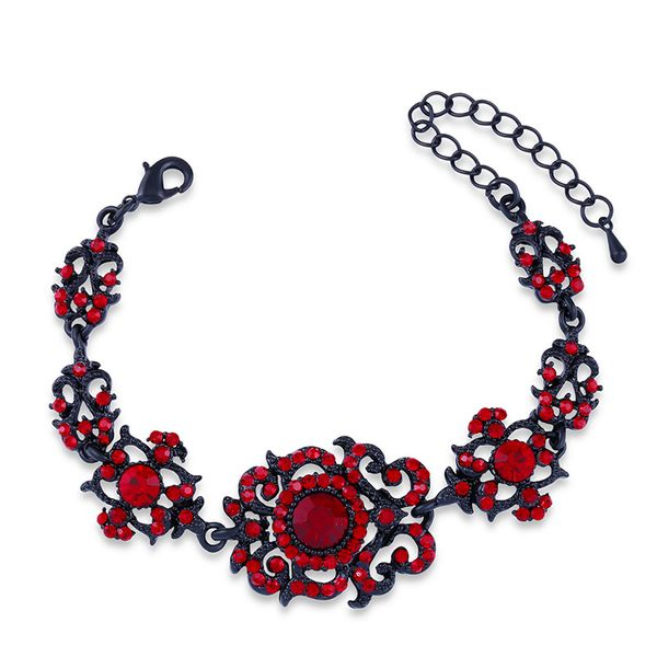 Imitated crystal&CZ Fashion Geometric bracelet  (Black red)  Fashion Jewelry NHAS0596-Black-red