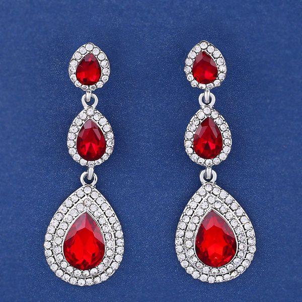 Imitated crystal&CZ Fashion Geometric earring  (red)  Fashion Jewelry NHAS0598-red