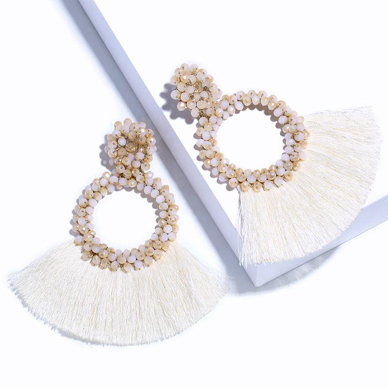Alloy Bohemia Tassel earring  white  Fashion Jewelry NHAS0602white