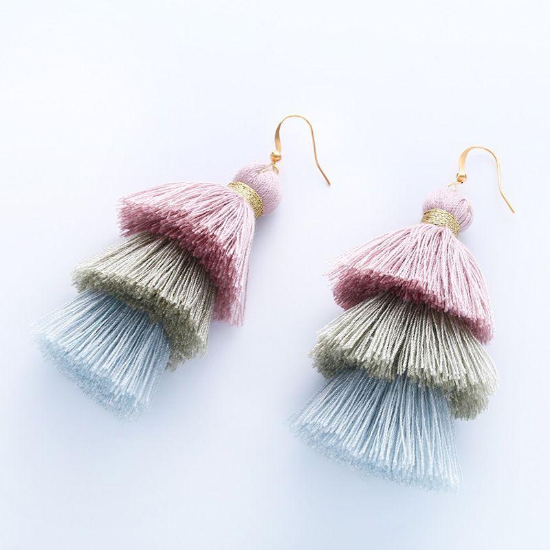 Cloth Bohemia Tassel earring  (1)  Fashion Jewelry NHAS0615-1