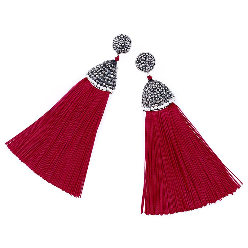 Cloth Bohemia Tassel earring  (red)  Fashion Jewelry NHAS0621-red