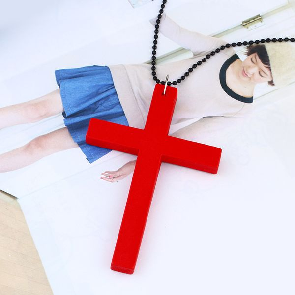 Alloy Vintage Cross necklace  (red)  Fashion Jewelry NHAS0625-red