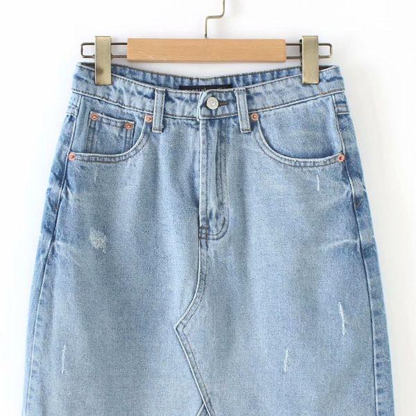 Cotton Fashion  skirt  (Light blue-S)  Women Clothing NHAM7375-Light-blue-S