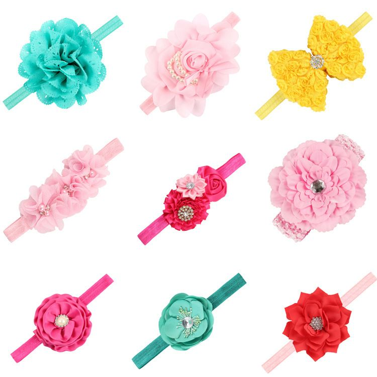 Cloth Fashion Flowers Hair accessories  (Set of 9 colors)  Fashion Jewelry NHWO1170-Set-of-9-colors