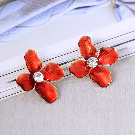 Alloy Korea Flowers earring  (Red)  Fashion Jewelry NHNZ1272-Red's discount tags