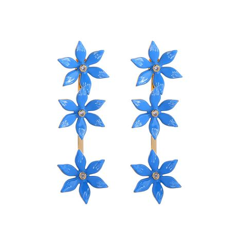 Alloy Korea Flowers earring  (Blue-1)  Fashion Jewelry NHQD6208-Blue-1's discount tags