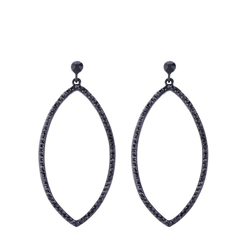 Imitated crystal&CZ Simple Geometric earring  (black)  Fashion Jewelry NHAS0639-black