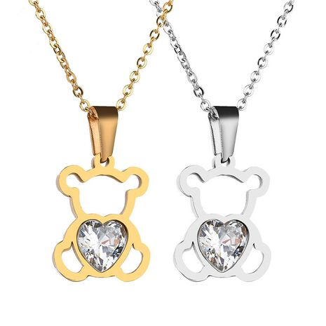 Titanium&Stainless Steel Korea Animal necklace  (Steel color)  Fine Jewelry NHHF1310-Steel-color's discount tags
