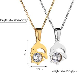 Titanium&Stainless Steel Korea Animal necklace  (Steel color)  Fine Jewelry NHHF1328-Steel-color's discount tags