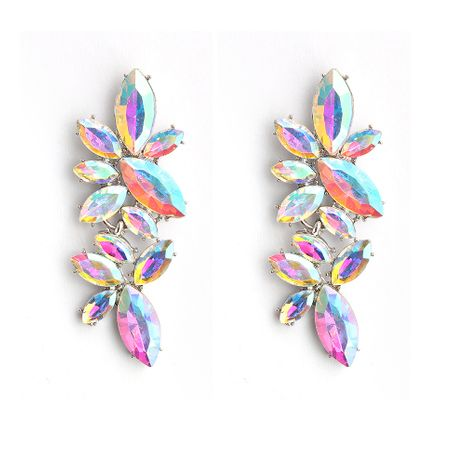 Pendiente geométrico de cristal imitado y CZ Fashion (taladro blanco K + AB) Joyería de moda NHHS0652-White-K + AB-drill's discount tags