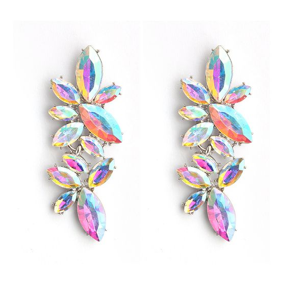 Imitated crystal&CZ Fashion Geometric earring  (White K+AB drill)  Fashion Jewelry NHHS0652-White-K+AB-drill