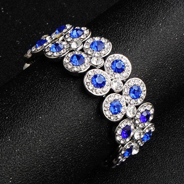 Alloy Fashion Geometric bracelet  (White K+ dark blue rhinestone)  Fashion Jewelry NHHS0659-White-K+-dark-blue-rhinestone