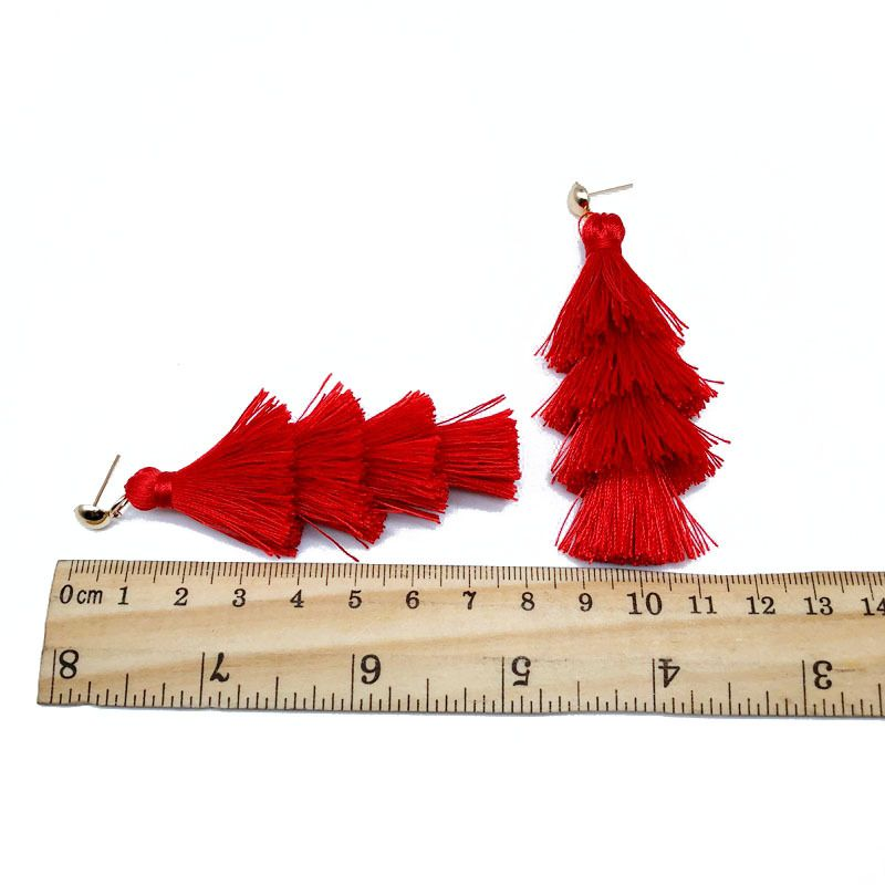 Alloy Fashion Tassel earring  (red)  Fashion Jewelry NHOM1405-red