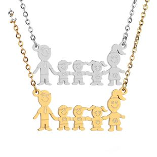 Titanium&Stainless Steel Simple Cartoon necklace  (Steel color)  Fine Jewelry NHHF1330-Steel-color's discount tags