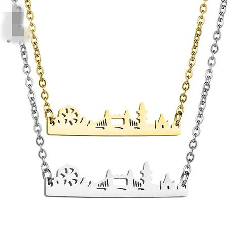 Titanium&Stainless Steel Simple Geometric necklace  (Steel color)  Fine Jewelry NHHF1332-Steel-color's discount tags