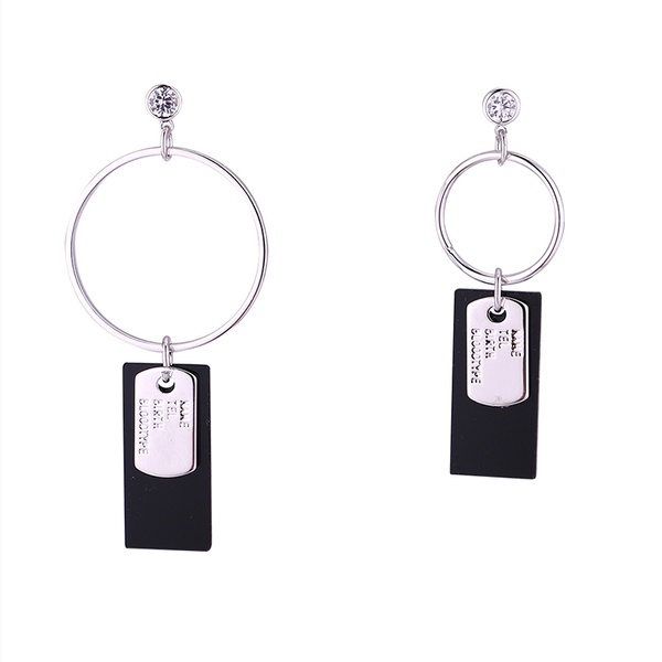 Korean version of the real alloy cool cool asymmetric S925 alloy needle earrings (Platinum) NHNPS6036