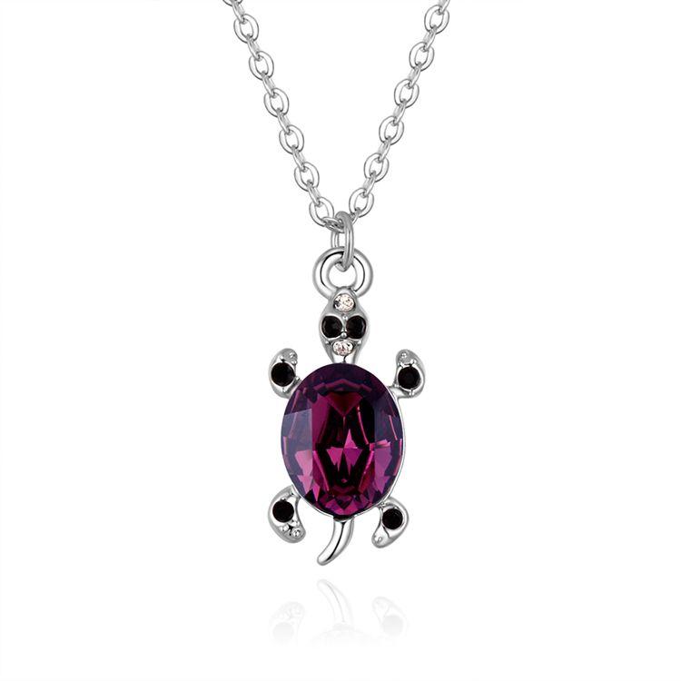 Austrian Imitated crystal Necklace - Alloy Turtle (Purple)  NHKSE30395
