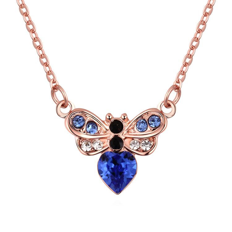 Imitated crystal Necklace--Fangxin Love (Blue)  NHKSE30349