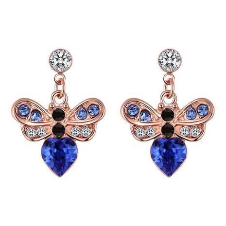 Imitated crystal S925 Alloy Needle Earrings--Fangxin Honey Love (Blue)  NHKSE30343's discount tags