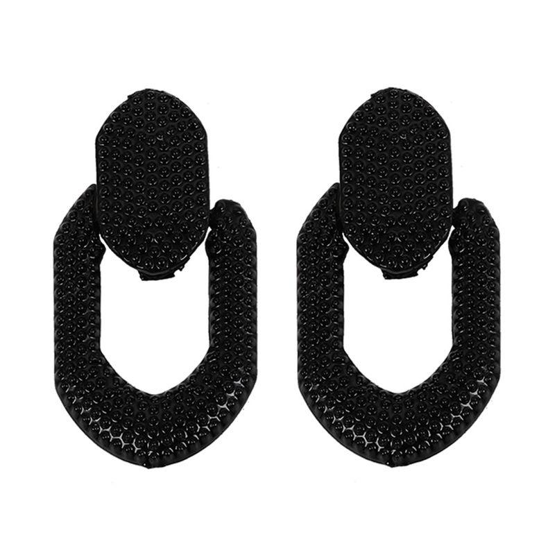 Boucle d39oreille gomtrique Fashion en alliage noir Bijoux fantaisie NHJQ11315noir