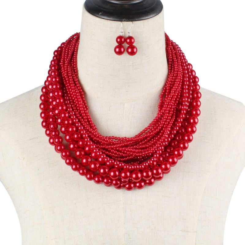 Beads Fashion Geometric necklace  red  Fashion Jewelry NHCT0450red
