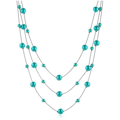 Beads Fashion Geometric necklace  (Blue turquoise white K)  Fashion Jewelry NHKQ2397-Blue-turquoise-white-K's discount tags