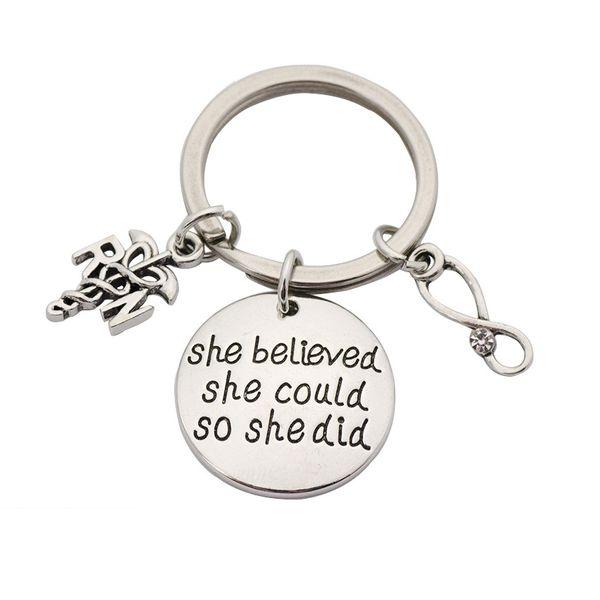 Alloy Fashion Geometric key chain  (Round ring 3 pendants)  Fashion Jewelry NHHN0420-Round-ring-3-pendants