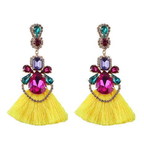 Cloth Bohemia Tassel earring  (yellow)  Fashion Jewelry NHJQ11226-yellow's discount tags