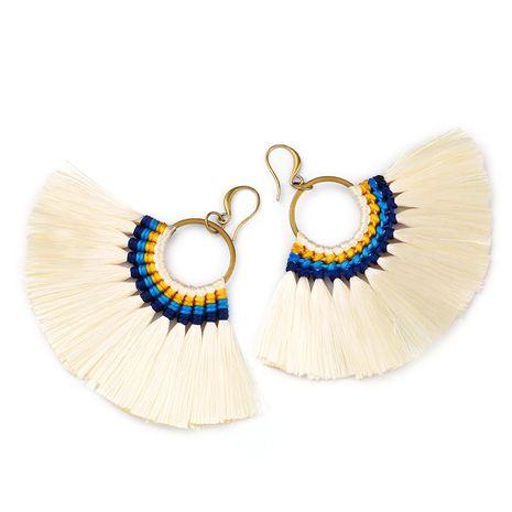 Cloth Bohemia Tassel earring  (white)  Fashion Jewelry NHAS0121-white's discount tags