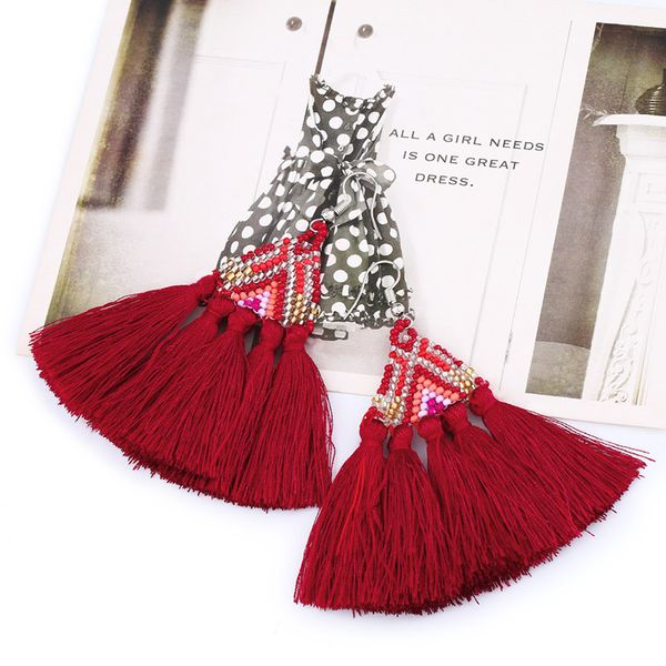 Cloth Korea Tassel earring  (red)  Fashion Jewelry NHAS0227-red