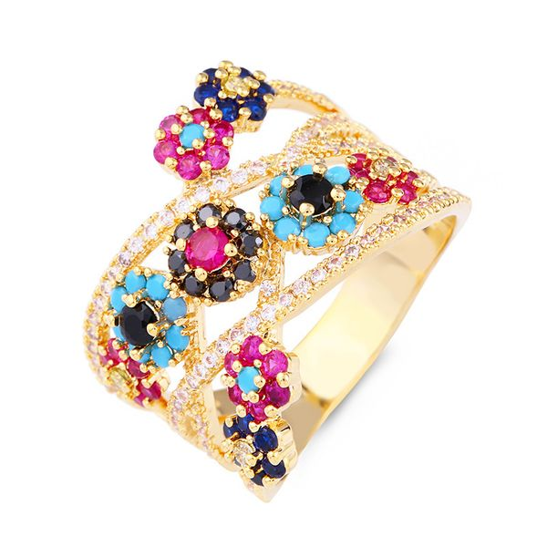 Copper Fashion Flowers Ring  (Alloy-7)  Fine Jewelry NHAS0311-Alloy-7