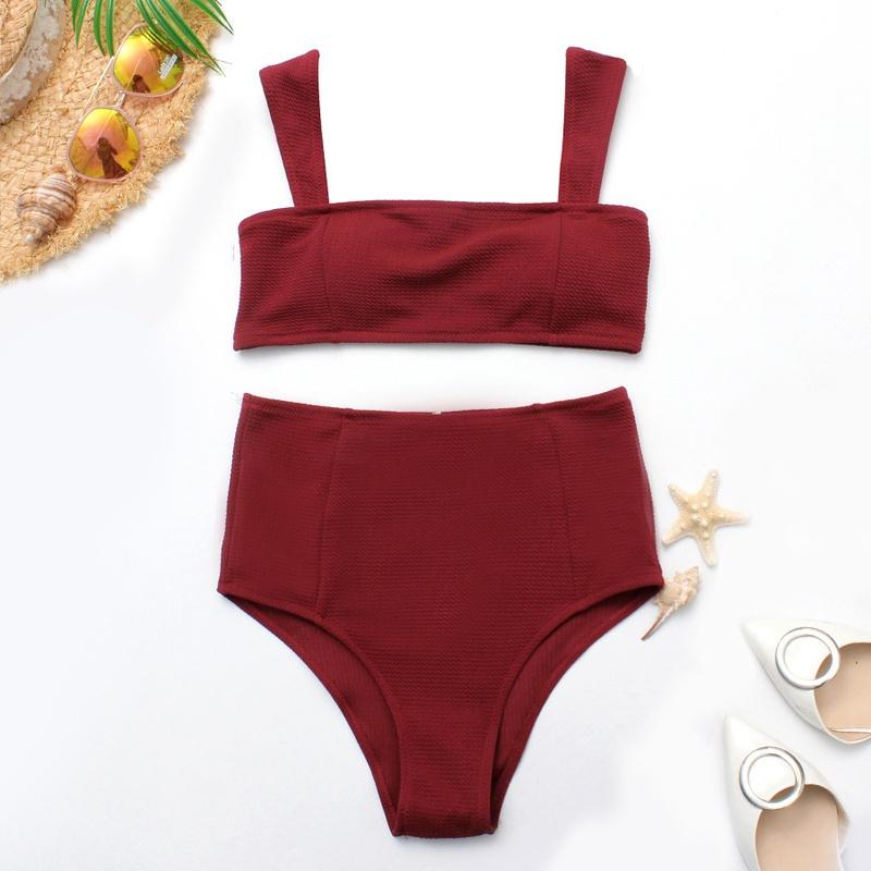 Polyester Fashion  Bikini  (Wine red-S)  Women Clothing NHHL0752-Wine-red-S