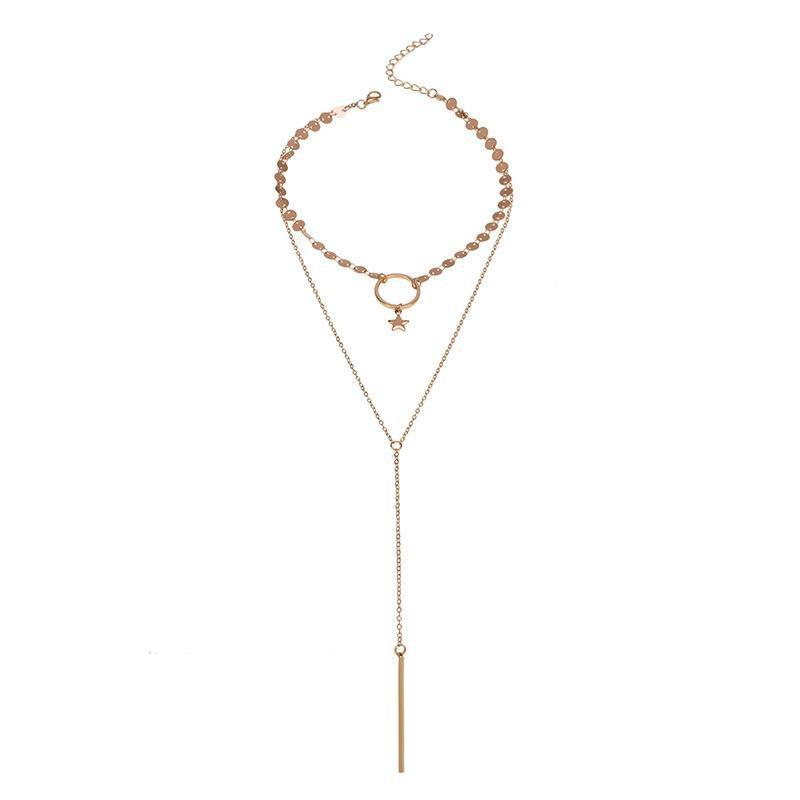 Street shot handmade sequins long copper necklace NHWF157403