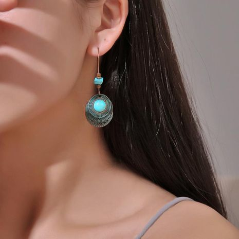 Vintage carved turquoise alloy earrings NHDP157448's discount tags