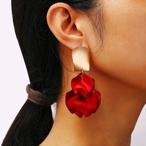 Pendientes creativos minimalistas de pétalos de rosa roja NHPJ157458's discount tags