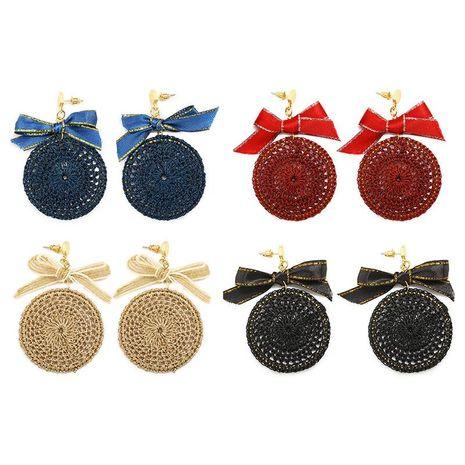 Pendientes de lazo de navidad de cinta tejida de moda NHDP157468's discount tags