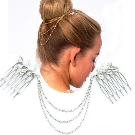 Banda de pelo de aleación de borla de cadena de hoja de moda NHDP157479's discount tags