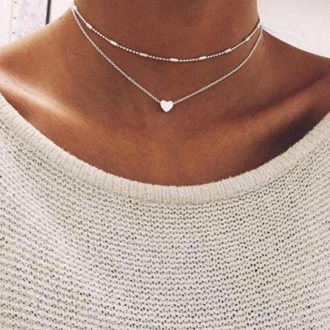 Collar de cadena de clavícula de múltiples capas de corazón de cobre de moda NHPJ157481's discount tags