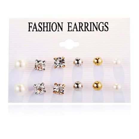 Pendientes de circonita de bolas de perlas simples retro creativas NHPJ157489's discount tags