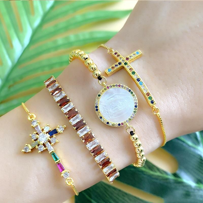 Fashion cross scepter artificial gemstone gold-plated bracelet NHAS157497