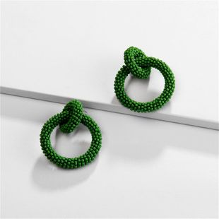 Round bead woven color earrings NHLU157514's discount tags