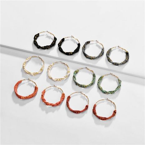 Cotton twist braided color hoop earrings NHLU157516's discount tags